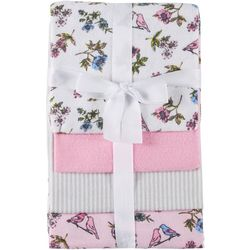Laura Ashley Baby Girls 4-pk. Floral Birds Baby Blankets