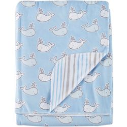 Buttons & Stitches Baby Boys Whale Stripe Baby Blanket