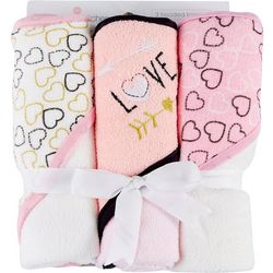 Buttons & Stitches Baby Girls 3-pc. Heart Hooded Towel Set