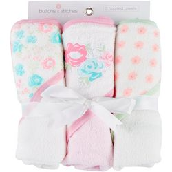 Buttons & Stitches Baby Girls 3-pc. Floral Hooded Towel Set