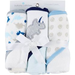 Buttons & Stitches Baby Boys 3-pc. Dino Hooded Towel Set