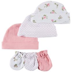 Laura Ashley Baby Girls 6-pk. Floral Dots Caps & Mittens Set
