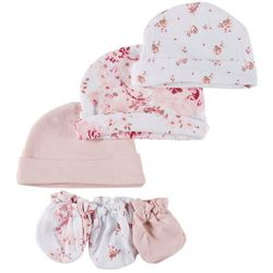 Laura Ashley Baby Girls 6-pk. Floral Caps & Mittens Set