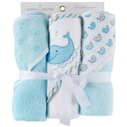 Buttons & Stitches Baby Boys 3-pk. Whale Hooded Towel Set