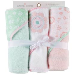 Buttons & Stitches Baby Girls 3-pk. Floral Hooded Towel Set