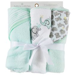Buttons & Stitches Baby 3-pk. Elephant Hooded Towel Set