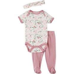 Chick Pea Baby Girls 3-pc. Floral Print Footie Pants Set