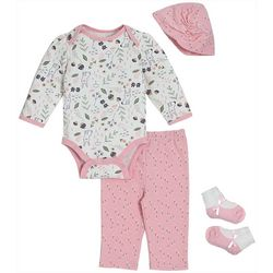 Chick Pea Baby Girls 4-pk. Floral Bunny Deluxe