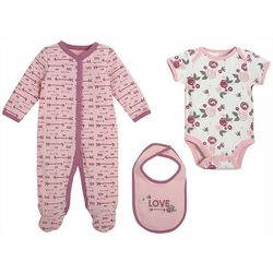 Chick Pea Baby Girls 3-pc. Floral Love Clothing Set
