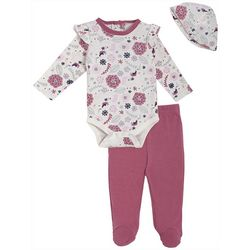 Chick Pea Baby Girls 3-pc. Floral Unicorn Footie Pants Set