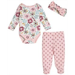 Chick Pea Baby Girls 3-pc. Colorful Print Footie Pants Set