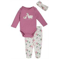 Kyle & Deena Baby Girls 3-pc. Llama Footie Pants Set