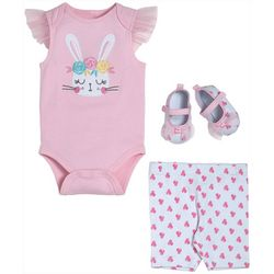 Chick Pea Baby Girls 3-pc. Embroidered Bunny Bodysuit Set