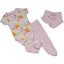 Chick Pea Baby Girls 3-pc. Fruit Print Footie Pants Set