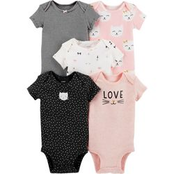 Carters Baby Girls 5-pk. Kitty Love Bodysuits