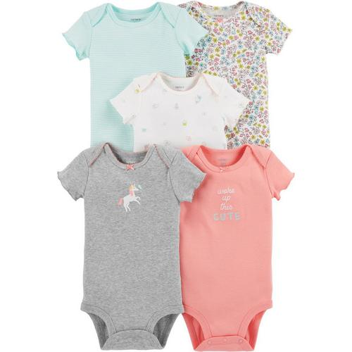 eeec546a96a Carters Baby Girls 5-pk. Woke Up This Cute Bodysuits