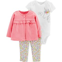 Carters Baby Girls 3-pc. Hi Unicorn Layette Set