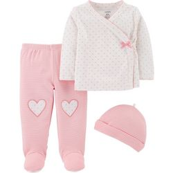 Carters Baby Girls 3-pc. Stripes & Dots Footie Pants Set