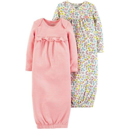 39bdfea0482 Carters Baby Girls 2-pk. Floral   Stripe Sleeper Gowns