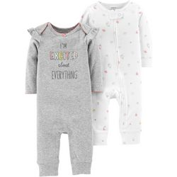Carters Baby Girls 2-pk. I'm Excited Jumpsuits