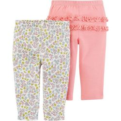 Carters Baby Girls 2-pk. Floral Ruffle Pull-On Pants