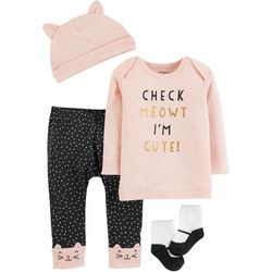 Carters Baby Girls 4-pc. Check Meowt I'm Cute Layette Set