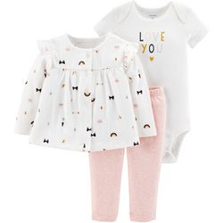 Carters Baby Girls 3-pc. Love You Cardigan Layette Set