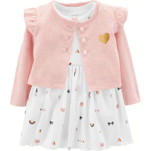 4e03982e9465 Carters Baby Girls Kitty Cardigan Bodysuit Dress Set