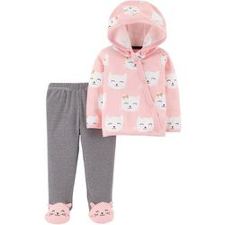 Carters Baby Girls Cat Print Side Snap Cardigan Pants Set