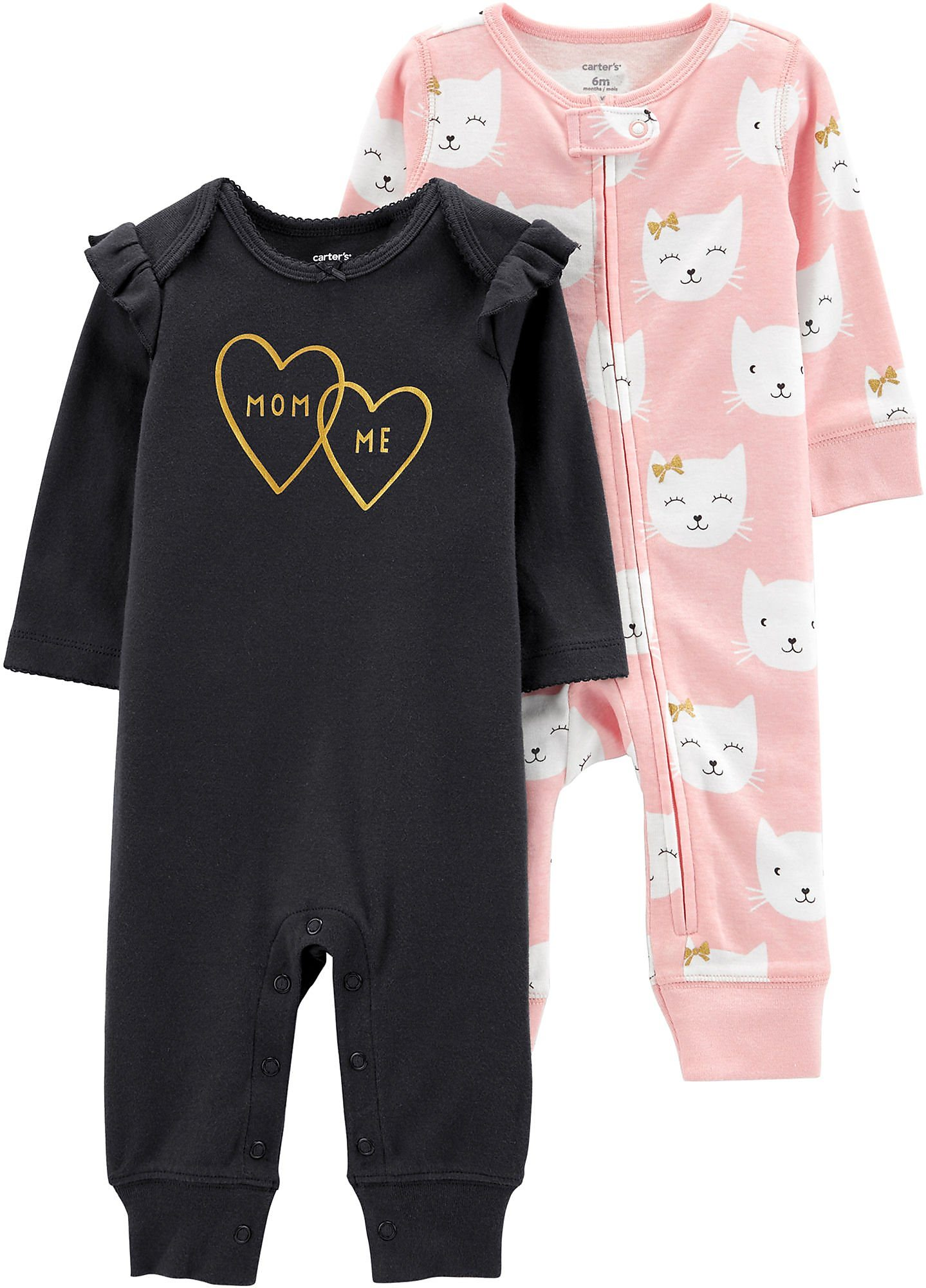 Carters Baby Girls 2 Pk Mom Me Jumpsuits Ebay