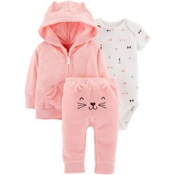 Carters Baby Girls 3-pc. Cat Cardigan Bodysuit Set