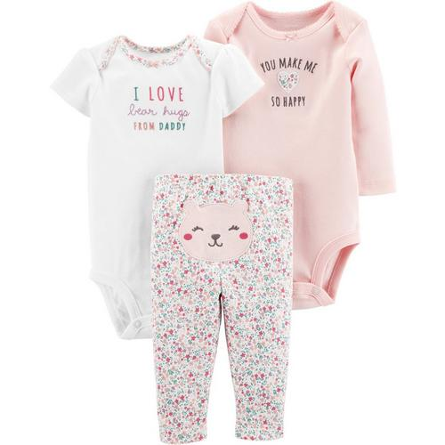Carters Baby Girl  Coverall Hat Bib Set Size Newborn 3 6 Months Layette Floral