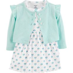 Carters Baby Girls Floral Ruffle Bodysuit Dress Cardigan Set