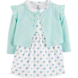 Carters Baby Girls Floral Ruffle Bodysuit Dress Cardigan