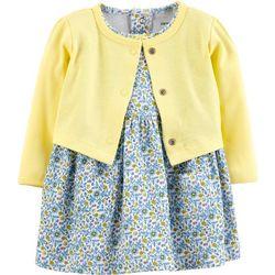 Carters Baby Girls Floral Pocket Bodysuit Dress Cardigan Set
