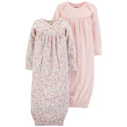 Carters Baby Girls 2-pk. Floral & Heart Sleeper Gowns