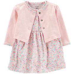 Carters Baby Girls Floral Bodysuit Dress Cardigan Set
