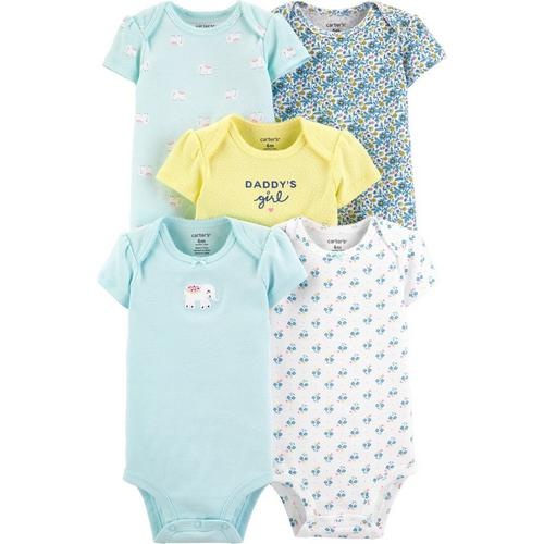 Just One You Girls 3 Pack Short Sleeve Elephant Themed Bodysuits