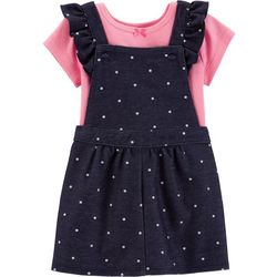 Carters Baby Girls 2-pc. Chambray Polka Dot Shortall Set