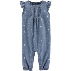Carters Baby Girls Cherry Chambray Jumpsuit