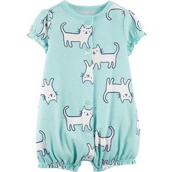 Carters Baby Girls Kitty Cat Bow Romper