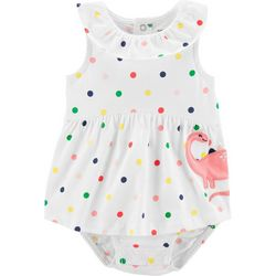 Carters Baby Girls Polka Dot Dinosaur Sunsuit