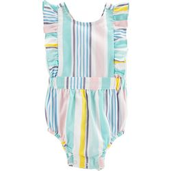 Carters Baby Girls Stripe Ruffle Bubble Romper