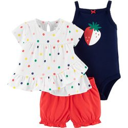 Carters Baby Girls 3-pc. Polka Dot Strawberry Layette Set