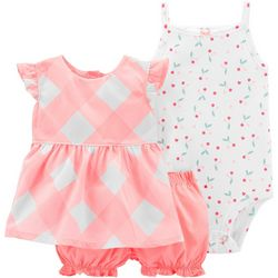 Carters Baby Girls 3-pc. Plaid Cherry Layette Set
