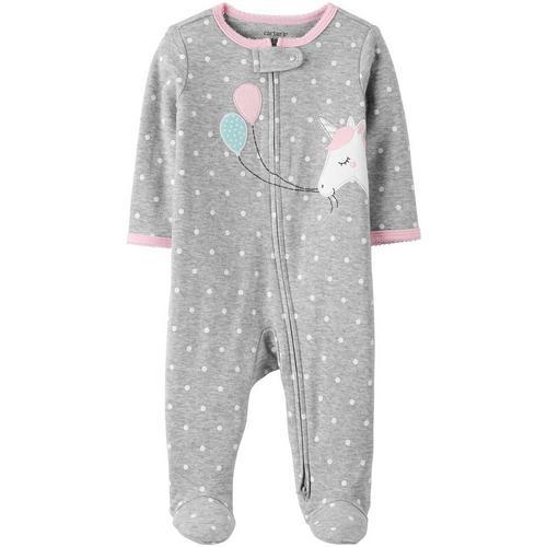 Preemie baby girl footie Carter/'s unicorn /& rainbows w//unicorn feet