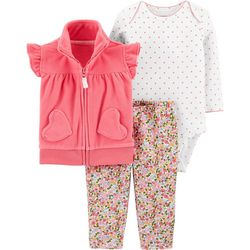 Carters Baby Girls 3-pc. Floral Heart Vest Layette Set
