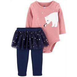 Carters Baby Girls Polar Bear Stars Tutu Bodysuit Set