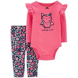 Carters Baby Girls Owlways Sweet Floral Bodysuit Set