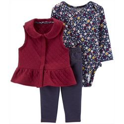 Carters Baby Girls 3-pc. Quilted Vest & Floral Bodysuit Set